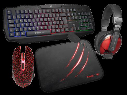 gamer sæt med musemåtte tastatur headset og mus