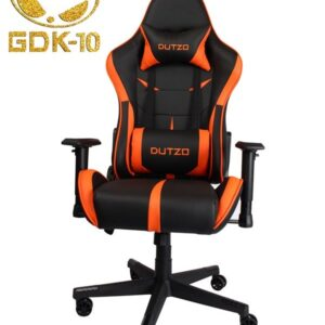 DUTZO E-Sport V2 - Black/Orange Gamer Stol - Sort / Orange - PU Læder - Op til 120 kg
