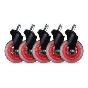 3 Casters for gaming chairs (Red) Univ., 5 pcs